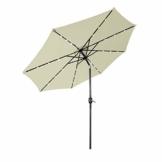 Aufun Sonnenschirm 300cm mit kurbel und Solarbetriebene Weiß LED UV Schutz Neigbar 40+ - Beige Alu Balkon Terrassenschirm Marktschirm Gartenschirm (Beige) - 1