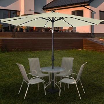Aufun Sonnenschirm 300cm mit kurbel und Solarbetriebene Weiß LED UV Schutz Neigbar 40+ - Beige Alu Balkon Terrassenschirm Marktschirm Gartenschirm (Beige) - 3