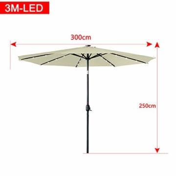 Aufun Sonnenschirm 300cm mit kurbel und Solarbetriebene Weiß LED UV Schutz Neigbar 40+ - Beige Alu Balkon Terrassenschirm Marktschirm Gartenschirm (Beige) - 4