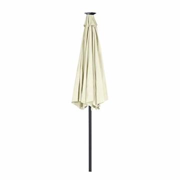Aufun Sonnenschirm 300cm mit kurbel und Solarbetriebene Weiß LED UV Schutz Neigbar 40+ - Beige Alu Balkon Terrassenschirm Marktschirm Gartenschirm (Beige) - 5