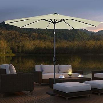 Aufun Sonnenschirm 300cm mit kurbel und Solarbetriebene Weiß LED UV Schutz Neigbar 40+ - Beige Alu Balkon Terrassenschirm Marktschirm Gartenschirm (Beige) - 8