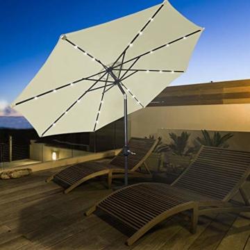 Aufun Sonnenschirm 300cm mit kurbel und Solarbetriebene Weiß LED UV Schutz Neigbar 40+ - Beige Alu Balkon Terrassenschirm Marktschirm Gartenschirm (Beige) - 9