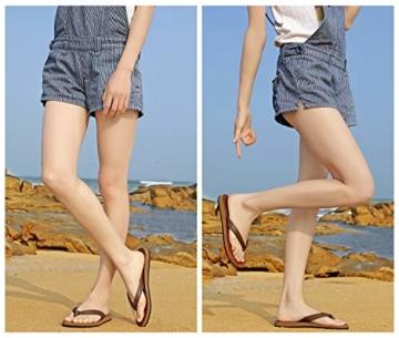 AX BOXING Zehentrenner Damen Flip Flops Schickes Einfach PU Leder Sandalen Sommerschuhe Hausschuhe Weich Strand Schwimmbad Drinnen/Draußen größe 36-42 - 2