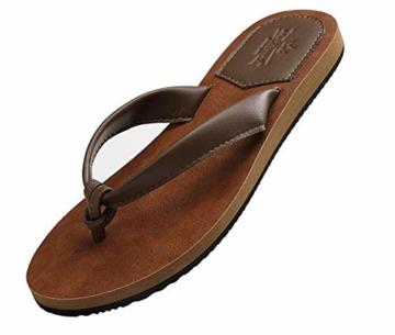 AX BOXING Zehentrenner Damen Flip Flops Schickes Einfach PU Leder Sandalen Sommerschuhe Hausschuhe Weich Strand Schwimmbad Drinnen/Draußen größe 36-42 - 3