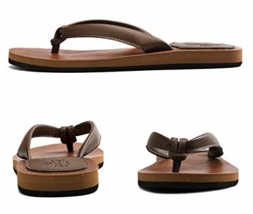 AX BOXING Zehentrenner Damen Flip Flops Schickes Einfach PU Leder Sandalen Sommerschuhe Hausschuhe Weich Strand Schwimmbad Drinnen/Draußen größe 36-42 - 4