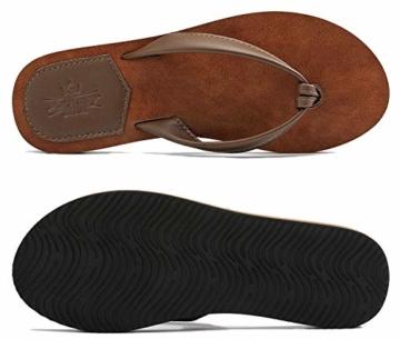 AX BOXING Zehentrenner Damen Flip Flops Schickes Einfach PU Leder Sandalen Sommerschuhe Hausschuhe Weich Strand Schwimmbad Drinnen/Draußen größe 36-42 - 5
