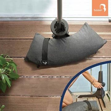 Baser Sonnenschirmständer für Balkon Wand mit befüllbarem Sandsack am Balkongeländer, Alternativ Sonnenschirm Balkonhalterung oder befestigung ohne bohren, für kleine sonnenschirme (20 KG, Dunkelgrau) - 3