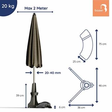 Baser Sonnenschirmständer für Balkon Wand mit befüllbarem Sandsack am Balkongeländer, Alternativ Sonnenschirm Balkonhalterung oder befestigung ohne bohren, für kleine sonnenschirme (20 KG, Dunkelgrau) - 6