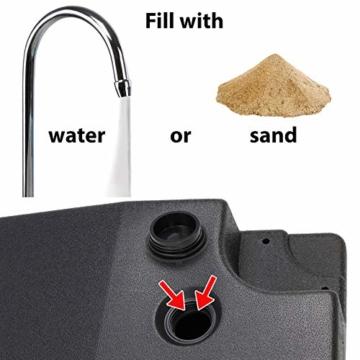 BB Sport Sonnenschirmständer 4-teilig Schirmgewicht für Ampelschirm Bodenkreuz schwarz 90 Liter / 120 kg - befüllbar mit Wasser oder Sand - 4