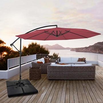 BB Sport Sonnenschirmständer 4-teilig Schirmgewicht für Ampelschirm Bodenkreuz schwarz 90 Liter / 120 kg - befüllbar mit Wasser oder Sand - 7