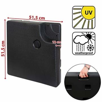 BB Sport Sonnenschirmständer 4-teilig Schirmgewicht für Ampelschirm Bodenkreuz schwarz 90 Liter / 120 kg - befüllbar mit Wasser oder Sand - 3