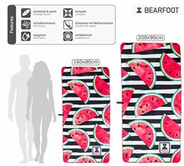 BEARFOOT Mikrofaser Handtuch mit Tasche   schnelltrocknende Handtücher - Microfaser Saunatuch, XXL Strandtuch, Badetuch groß, Reisehandtuch   Reise, Strand, Sauna (Wassermelone 160x80) - 2