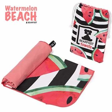BEARFOOT Mikrofaser Handtuch mit Tasche   schnelltrocknende Handtücher - Microfaser Saunatuch, XXL Strandtuch, Badetuch groß, Reisehandtuch   Reise, Strand, Sauna (Wassermelone 160x80) - 5