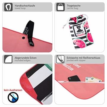 BEARFOOT Mikrofaser Handtuch mit Tasche   schnelltrocknende Handtücher - Microfaser Saunatuch, XXL Strandtuch, Badetuch groß, Reisehandtuch   Reise, Strand, Sauna (Wassermelone 160x80) - 6