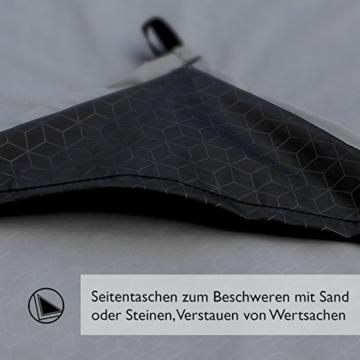 BERGBRUDER Nylon Picknickdecke - Pocket Blanket Wasserdicht, Ultraleicht & kompakt - Ground Sheet, Campingdecke, Stranddecke mit Tasche und Karabiner (200cm x 140cm) - 3