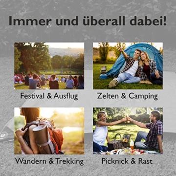 BERGBRUDER Nylon Picknickdecke - Pocket Blanket Wasserdicht, Ultraleicht & kompakt - Ground Sheet, Campingdecke, Stranddecke mit Tasche und Karabiner (200cm x 140cm) - 4