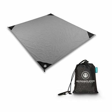 BERGBRUDER Nylon Picknickdecke - Pocket Blanket Wasserdicht, Ultraleicht & kompakt - Ground Sheet, Campingdecke, Stranddecke mit Tasche und Karabiner (200cm x 140cm) - 1