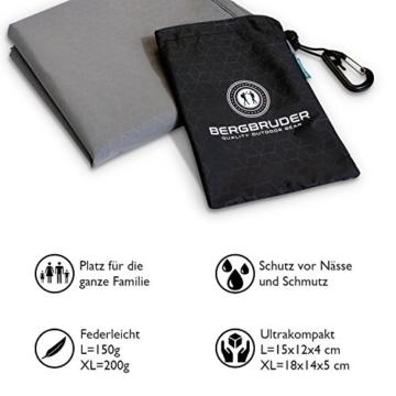 BERGBRUDER Nylon Picknickdecke - Pocket Blanket Wasserdicht, Ultraleicht & kompakt - Ground Sheet, Campingdecke, Stranddecke mit Tasche und Karabiner (200cm x 140cm) - 5