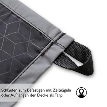 BERGBRUDER Nylon Picknickdecke - Pocket Blanket Wasserdicht, Ultraleicht & kompakt - Ground Sheet, Campingdecke, Stranddecke mit Tasche und Karabiner (200cm x 140cm) - 6