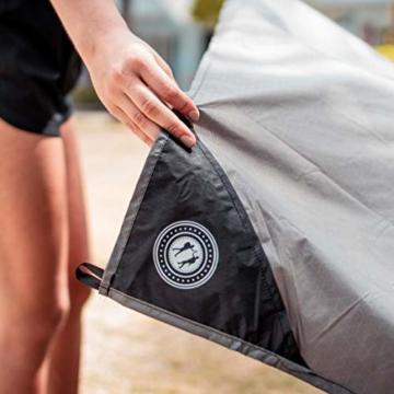 BERGBRUDER Nylon Picknickdecke - Pocket Blanket Wasserdicht, Ultraleicht & kompakt - Ground Sheet, Campingdecke, Stranddecke mit Tasche und Karabiner (200cm x 140cm) - 7