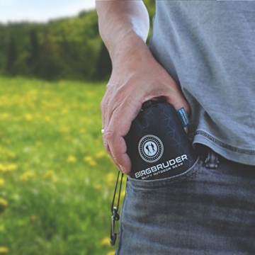 BERGBRUDER Nylon Picknickdecke - Pocket Blanket Wasserdicht, Ultraleicht & kompakt - Ground Sheet, Campingdecke, Stranddecke mit Tasche und Karabiner (200cm x 140cm) - 8