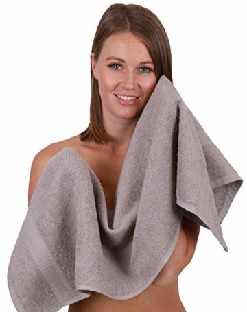 Betz 12-TLG. Handtuch-Set Palermo 100% Baumwolle 2 Liegetücher 4 Handtücher 2 Gästetücher 2 Seiftücher 2 Waschhandschuhe Farbe Petrol und Stone - 4