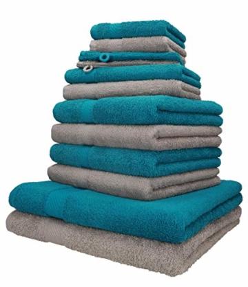 Betz 12-TLG. Handtuch-Set Palermo 100% Baumwolle 2 Liegetücher 4 Handtücher 2 Gästetücher 2 Seiftücher 2 Waschhandschuhe Farbe Petrol und Stone - 1