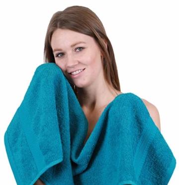Betz 12-TLG. Handtuch-Set Palermo 100% Baumwolle 2 Liegetücher 4 Handtücher 2 Gästetücher 2 Seiftücher 2 Waschhandschuhe Farbe Petrol und Stone - 6