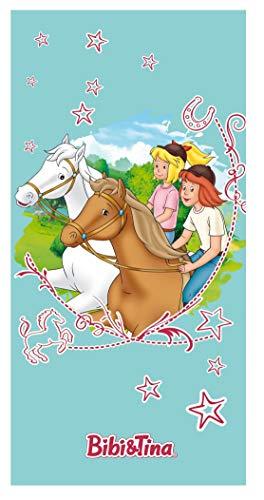 Bibi und Tina Strandtuch mit Pferde Sterne Mädchen | Badetuch Schwimmbadtuch 75x150 cm 100% Baumwolle Velours Türkis - 1