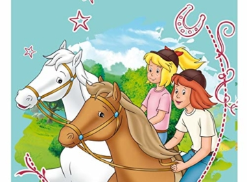Bibi und Tina Strandtuch mit Pferde Sterne Mädchen | Badetuch Schwimmbadtuch 75x150 cm 100% Baumwolle Velours Türkis - 3