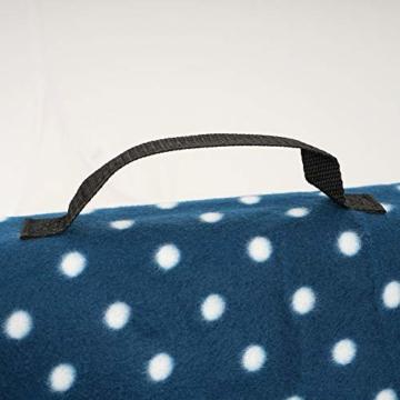 CampFeuer Picknickdecke wasserdicht 200x200 cm | blau | Muster: Punkte | XXL Campingdecke | Stranddecke isoliert - 2
