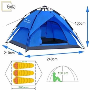 Campmore Wurfzelt 2/3/4 Personen, Sekundenzelt Campingzelt Kuppelzelt 240x210x135cm Blau - 2