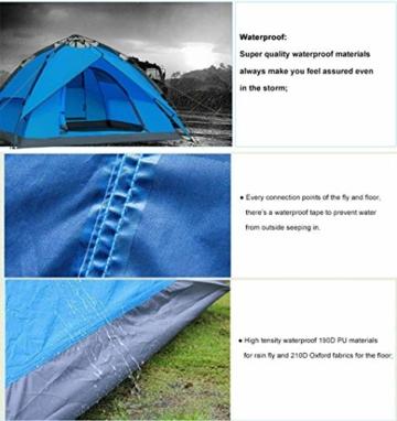 Campmore Wurfzelt 2/3/4 Personen, Sekundenzelt Campingzelt Kuppelzelt 240x210x135cm Blau - 3