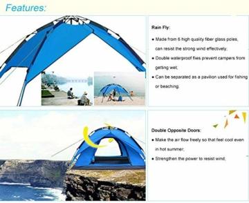 Campmore Wurfzelt 2/3/4 Personen, Sekundenzelt Campingzelt Kuppelzelt 240x210x135cm Blau - 4