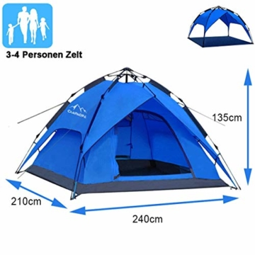 Campmore Wurfzelt 2/3/4 Personen, Sekundenzelt Campingzelt Kuppelzelt 240x210x135cm Blau - 1