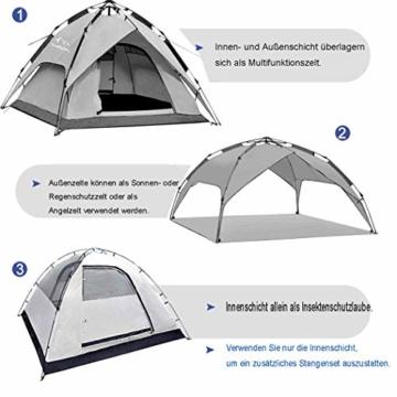 Campmore Wurfzelt 2/3/4 Personen, Sekundenzelt Campingzelt Kuppelzelt 240x210x135cm Blau - 5