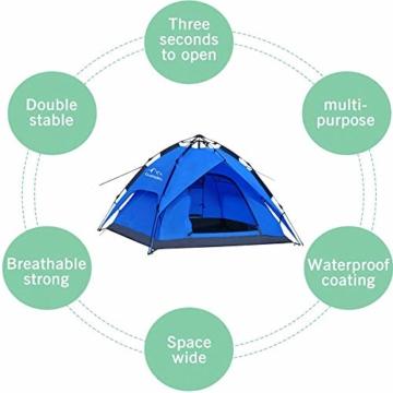 Campmore Wurfzelt 2/3/4 Personen, Sekundenzelt Campingzelt Kuppelzelt 240x210x135cm Blau - 7