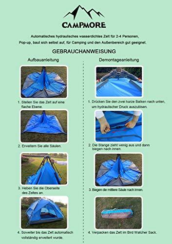 Campmore Wurfzelt 2/3/4 Personen, Sekundenzelt Campingzelt Kuppelzelt 240x210x135cm Blau - 8
