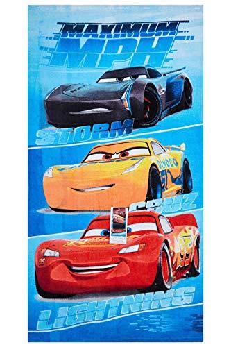 Cars Disney Maximum MPH Strandtuch, Badetuch, Handtuch 70 x 140 cm mit Storm, Cruz und Lightning McQueen aus 100% Baumwolle, für Kinder - 1