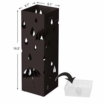 Catalpa Blume Regenschirmständer aus Metall quadratischer Schirmständer 15cm x 15cm x 49cm mit Haken Aufbewahrung für Regenschirme und Spazierstöcke - 2