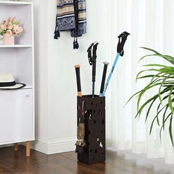 Catalpa Blume Regenschirmständer aus Metall quadratischer Schirmständer 15cm x 15cm x 49cm mit Haken Aufbewahrung für Regenschirme und Spazierstöcke - 3
