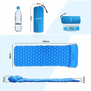 Deeplee Camping Isomatte,Einzelne Schlafmatte Ultraleichte Isomatte für Outdoor,Feuchtigkeitsfes für Wandern,Backpacking,Camping,Strand(Blau) - 2