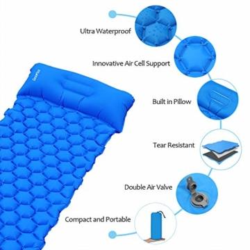 Deeplee Camping Isomatte,Einzelne Schlafmatte Ultraleichte Isomatte für Outdoor,Feuchtigkeitsfes für Wandern,Backpacking,Camping,Strand(Blau) - 6