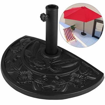 Deuba Sonnenschirmständer halbrund 9 kg Blumen Design schwarz Gussoptik Schirmständer wetterfest Sonnenschirm Ständer - 1