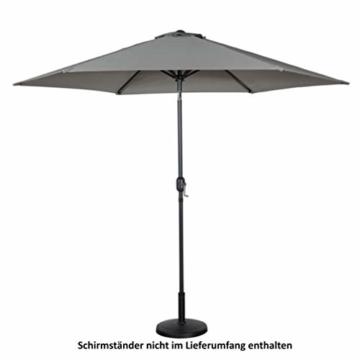 Deuline® Alu Sonnenschirm Ø 300 cm Gartenschirm Terrassenschirm Marktschirm neigbar mit Kurbel Aluminium Mast UV-Schutz Wasserabweisende Bespannung Rund Malta Grau 521807 - 2