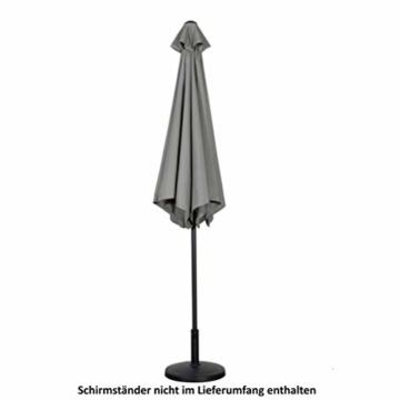 Deuline® Alu Sonnenschirm Ø 300 cm Gartenschirm Terrassenschirm Marktschirm neigbar mit Kurbel Aluminium Mast UV-Schutz Wasserabweisende Bespannung Rund Malta Grau 521807 - 4