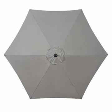 Deuline® Alu Sonnenschirm Ø 300 cm Gartenschirm Terrassenschirm Marktschirm neigbar mit Kurbel Aluminium Mast UV-Schutz Wasserabweisende Bespannung Rund Malta Grau 521807 - 5