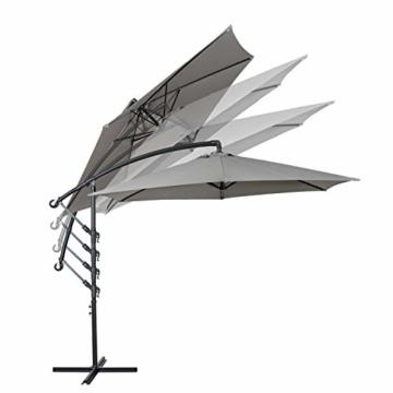 Deuline® Alu Sonnenschirm Ø300cm Gartenschirm Marktschirm Ampelschirm mit Kurbel Alu Mast UV Schutz Wasserabweisende Bespannung gratis Schutzhülle Mallorca Grau 521801 - 5