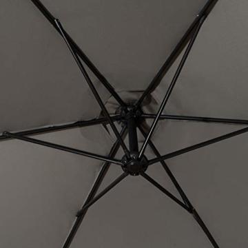 Deuline® Alu Sonnenschirm Ø300cm Gartenschirm Marktschirm Ampelschirm mit Kurbel Alu Mast UV Schutz Wasserabweisende Bespannung gratis Schutzhülle Mallorca Grau 521801 - 6