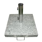 Dilego Nexos Schirmständer Sonnenschirmständer Granit eckig 40x40cm ca. 25kg Edelstahlrohr Griff Transport-Rollen schwarz-weiß grau - 1